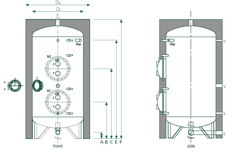 Stainless steel hot water tank ancillaries and related system components.