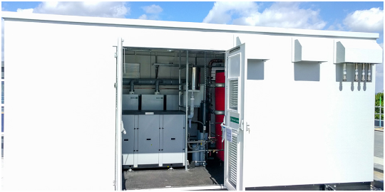 Packaged plant room  providing commercial hot water for the education sector - schools, academies, universities.