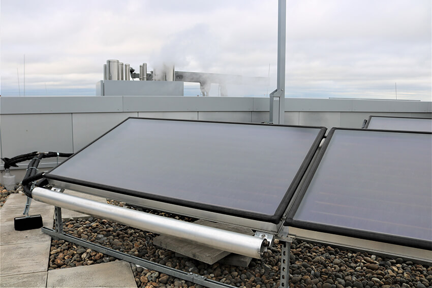 Solar Thermal Collectors with drain back units sited in the City of London.