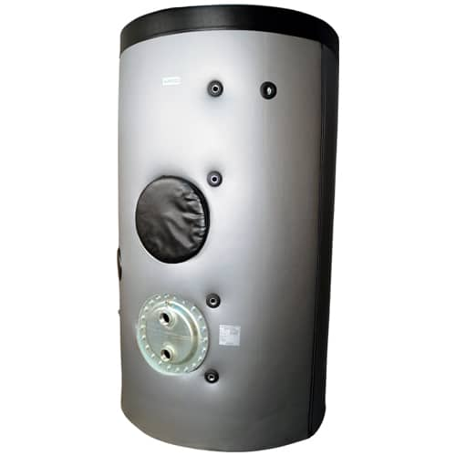 Stainless steel indirect cylinder for use with Air Source Heat Pump (ASHP) system.